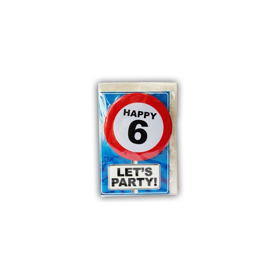 6 jaar verjaardagskaart met button
