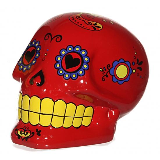 Spaarpot schedel rood 15 cm