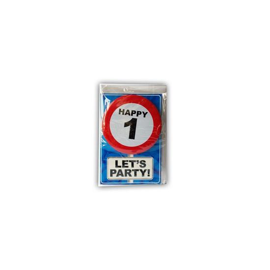 1 jaar ansichtkaart met button