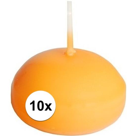 10x Drijfkaarsen oranje 4,5 cm
