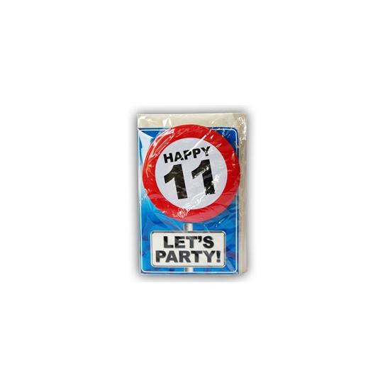 11 jaar ansichtkaart met button