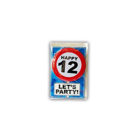 12 jaar ansichtkaart met button