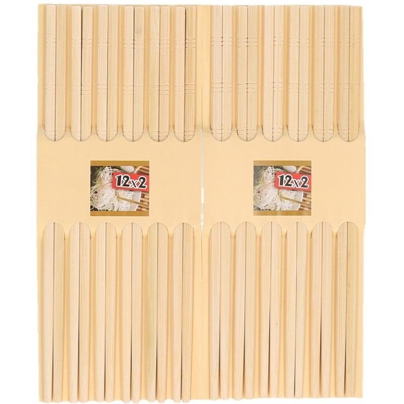 12 Paar eetstokjes licht bamboe hout