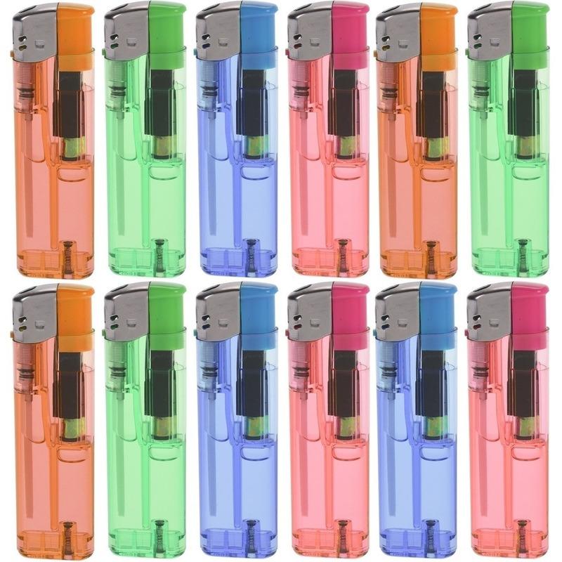 12x Gekleurde aanstekers 9 cm