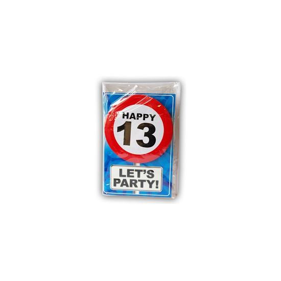 13 jaar ansichtkaart met button