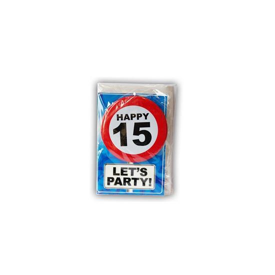 15 jaar ansichtkaart met button