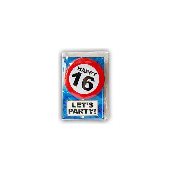 16 jaar ansichtkaart met button