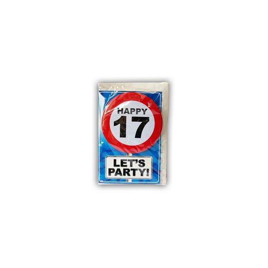 17 jaar ansichtkaart met button