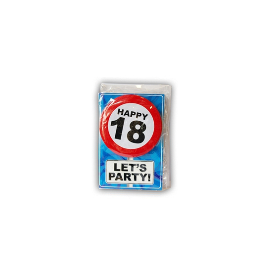 18 jaar ansichtkaart met button