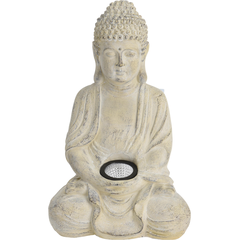 1x Boeddha tuinbeeld creme met solar verlichting op zonne-energie 33 cm