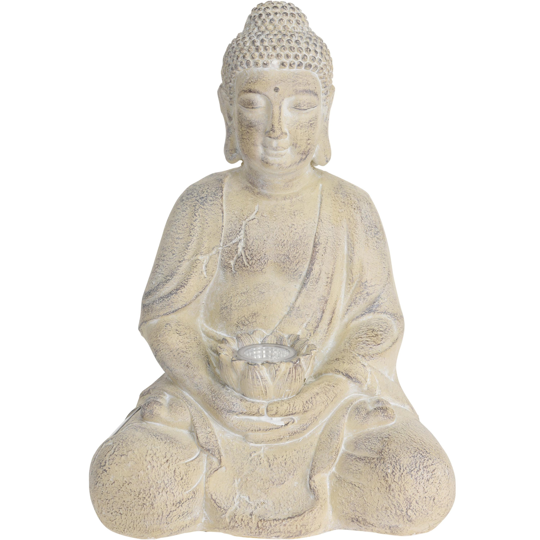 1x Boeddha tuinbeeld creme met solar verlichting op zonne-energie 44 cm
