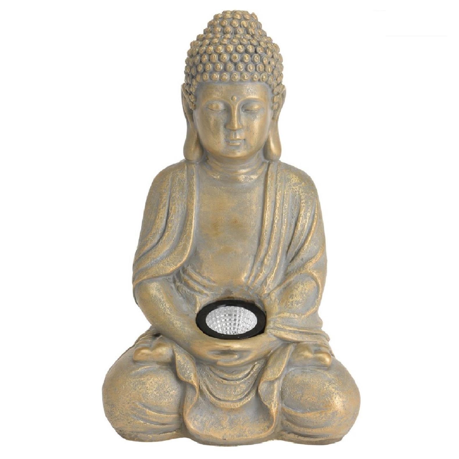 1x Boeddha tuinbeeld goud met solar verlichting op zonne-energie 33 cm