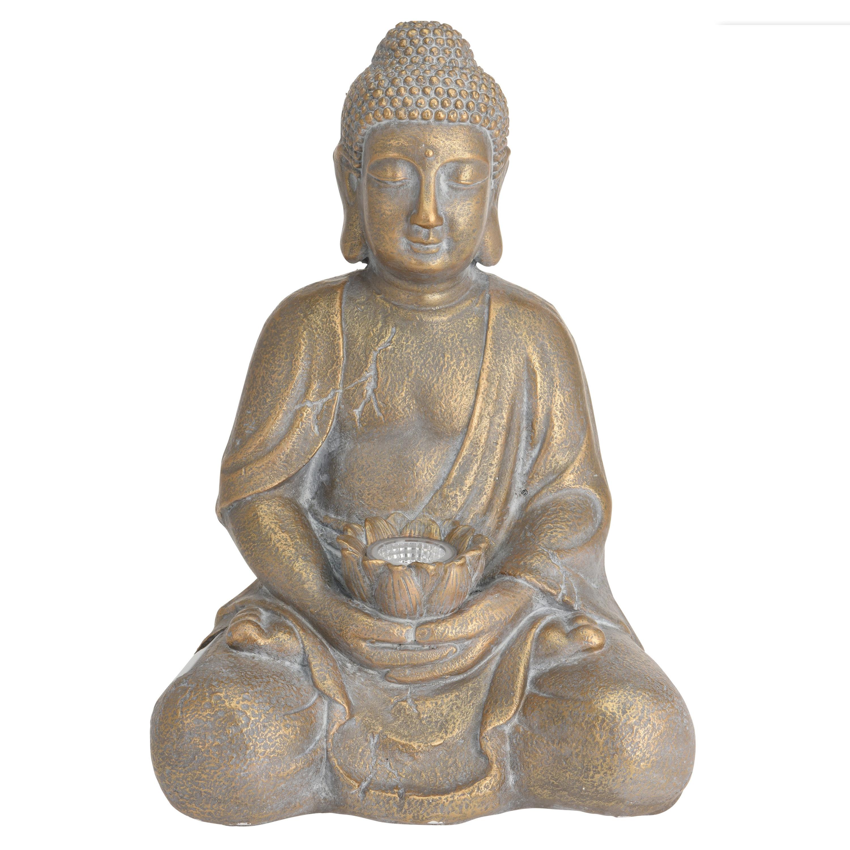1x Boeddha tuinbeeld goud met solar verlichting op zonne-energie 44 cm