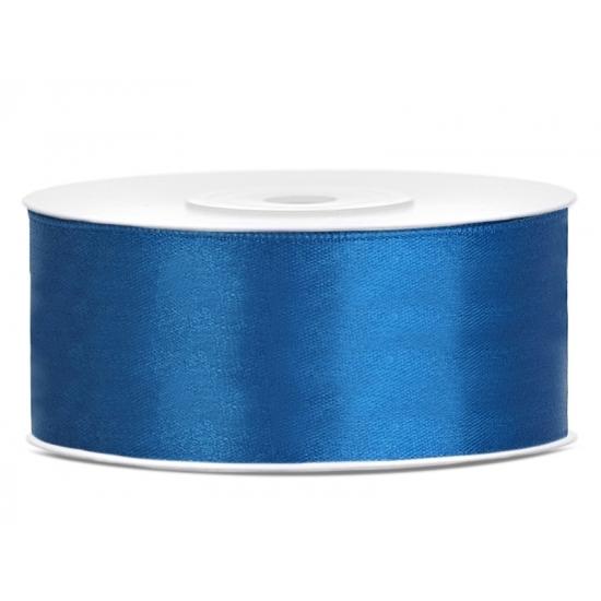 1x Hobby/decoratie kobalt blauw satijnen sierlint 2,5 cm/25 mm x 25 meter