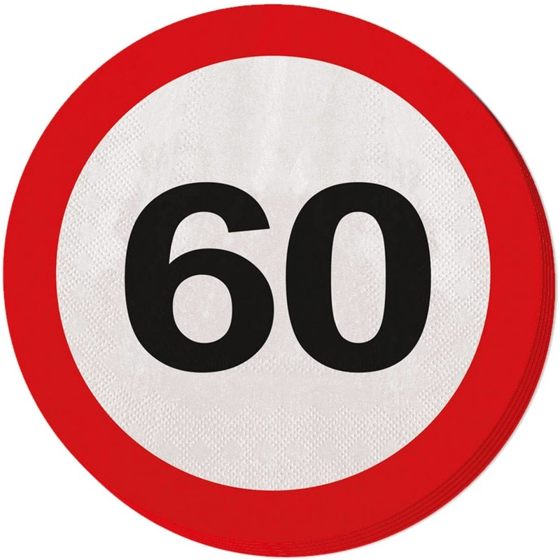 20x 60 jaar leeftijd themafeest servetten verkeersbord 33 cm ron