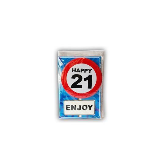 21 jaar ansichtkaart met button