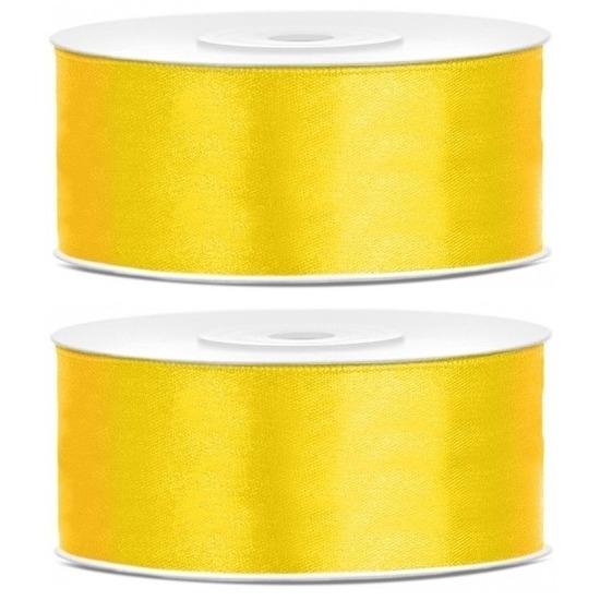 2x Hobby/decoratie gele satijnen sierlinten 2,5 cm/25 mm x 25 meter
