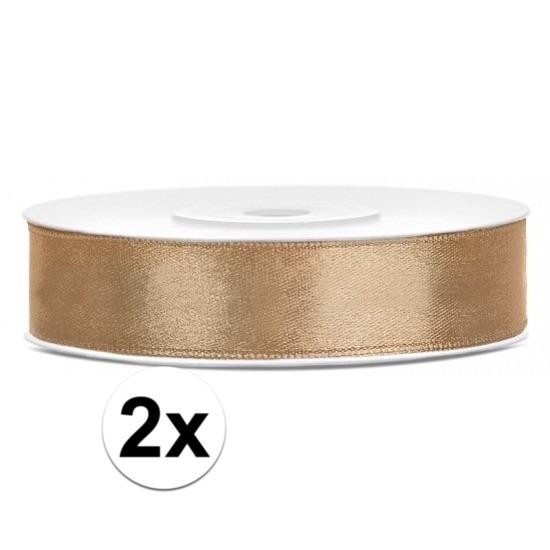 2x Satijn sierlint rollen goud van 25 meter x 12 mm