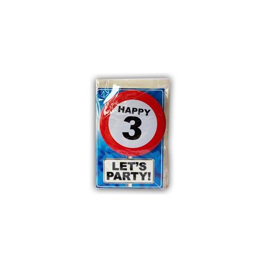 3 jaar ansichtkaart met button