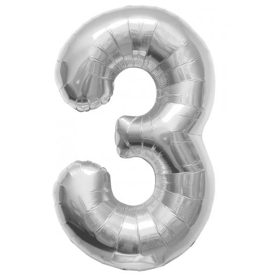 3 jaar folie ballon zilver