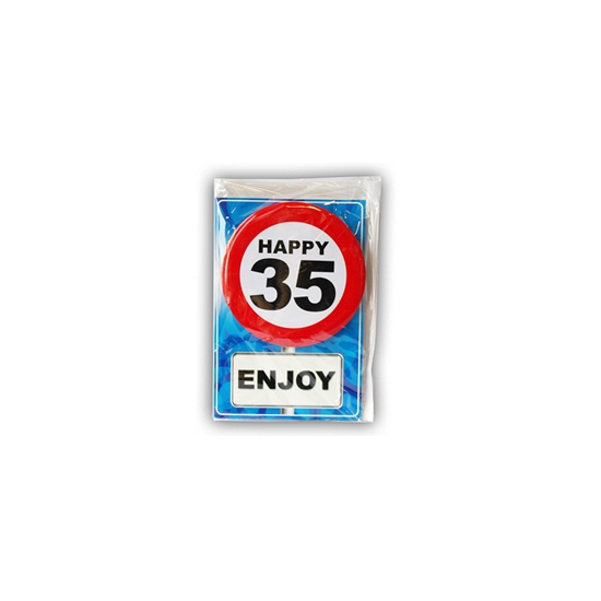 35 jaar ansichtkaart met button
