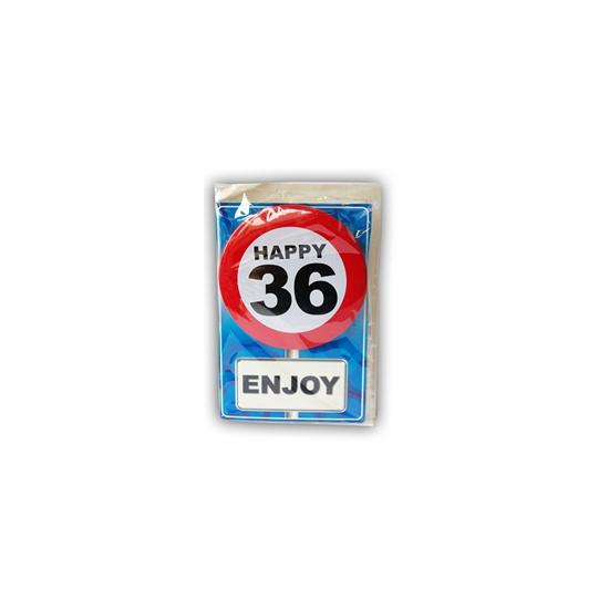 36 jaar ansichtkaart met button