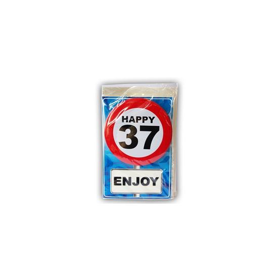 37 jaar ansichtkaart met button