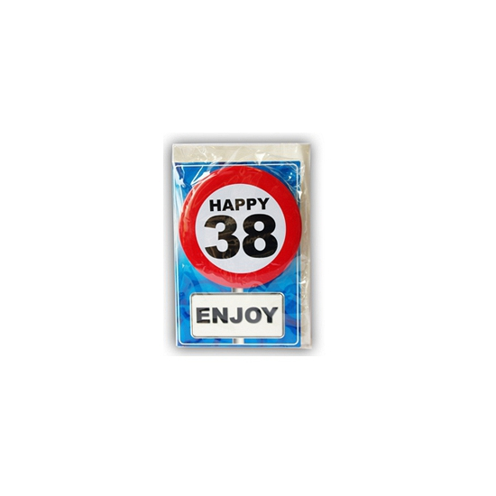 38 jaar ansichtkaart met button