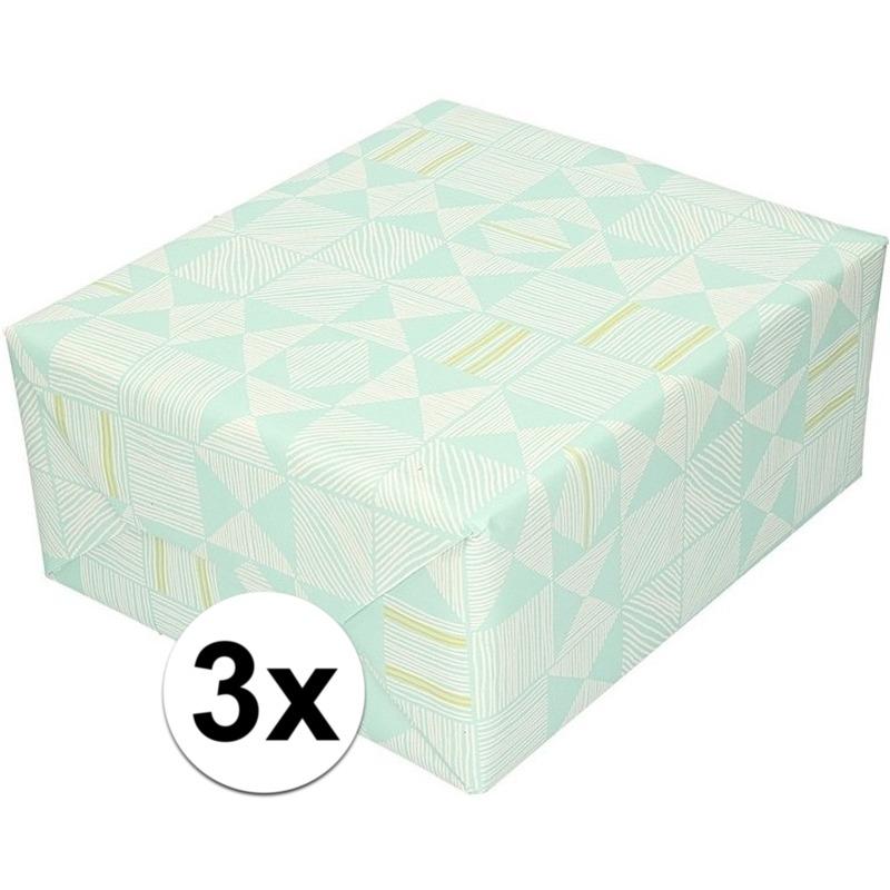 3x Inpakpapier/cadeaupapier mintgroen/grafische print 200 x 70cm