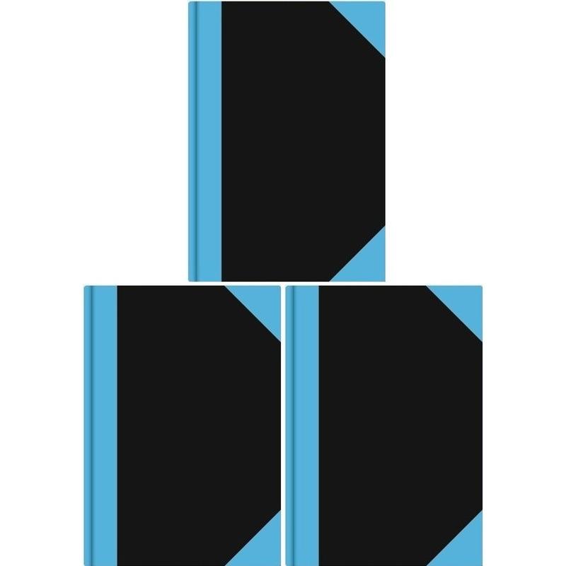 3x Luxe schriften zwart A6 formaat gelinieerd/lijntjes