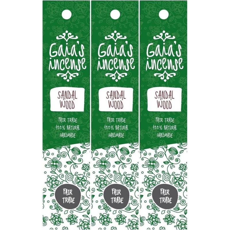3x Pakje Gaias Incense luxe wierook stokjes sandelhout geur