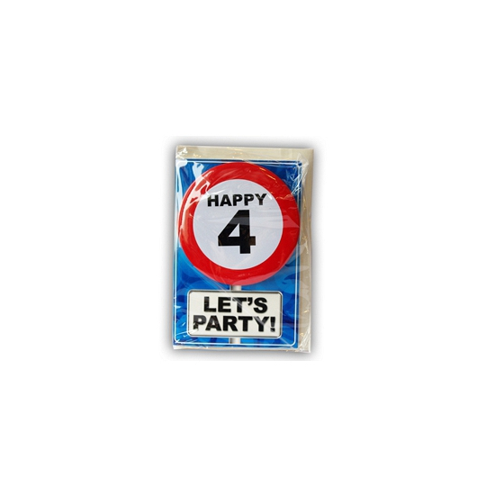 4 jaar ansichtkaart met button