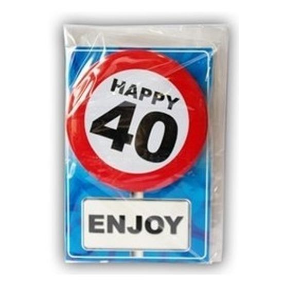 40 jaar ansichtkaart met button