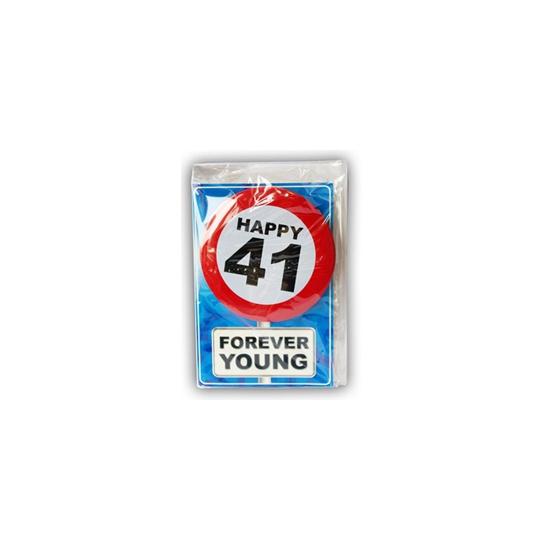 41 jaar ansichtkaart met button