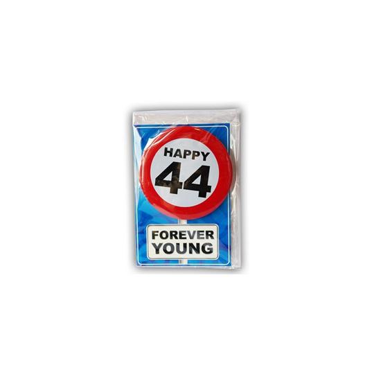 44 jaar ansichtkaart met button