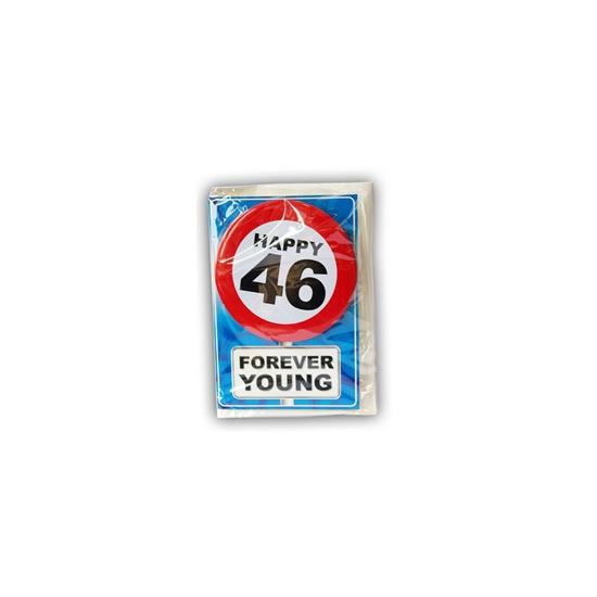 46 jaar ansichtkaart met button