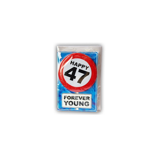 47 jaar ansichtkaart met button