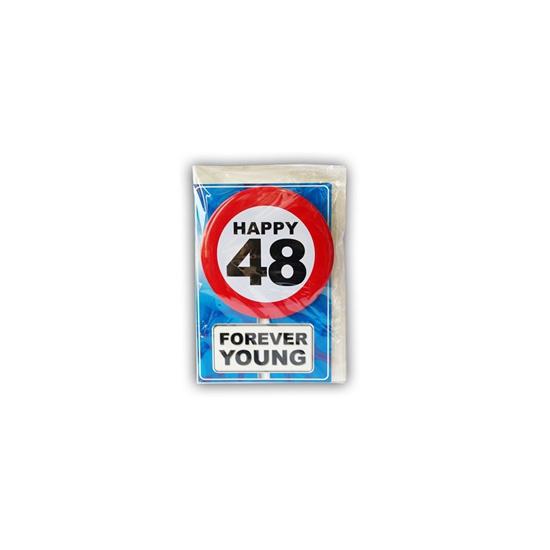 48 jaar ansichtkaart met button