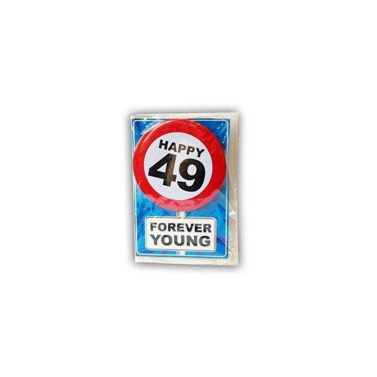 49 jaar ansichtkaart met button
