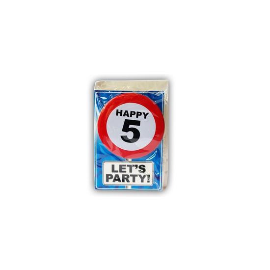 5 jaar ansichtkaart met button