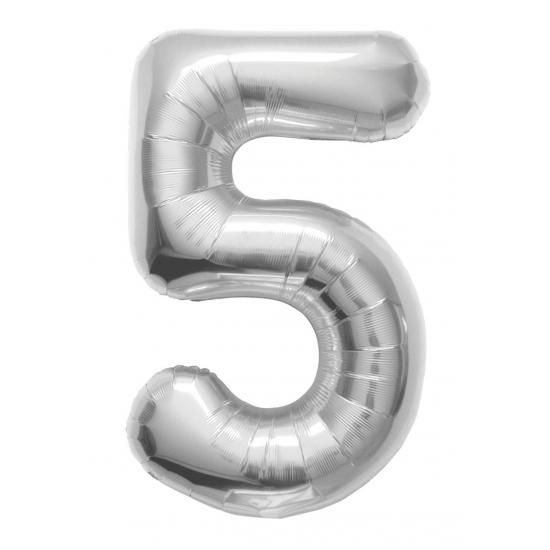 5 jaar folie ballon zilver