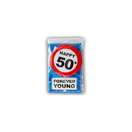 50 jaar ansichtkaart met button