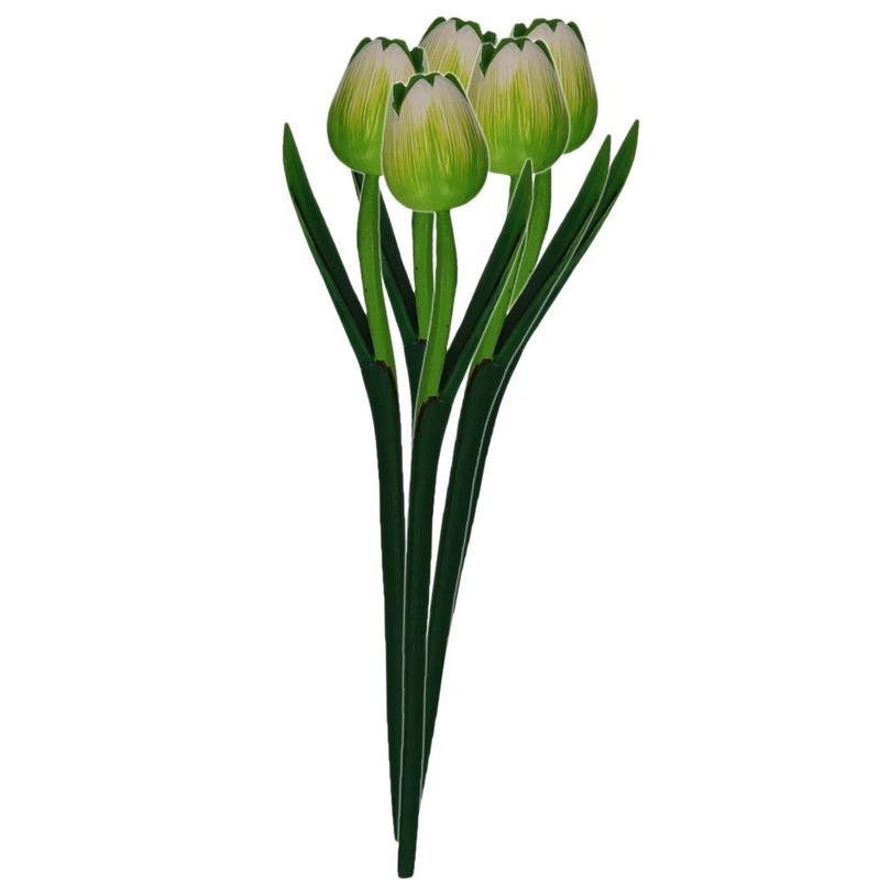 5x Groene houten tulpen 35 cm kunstbloemen