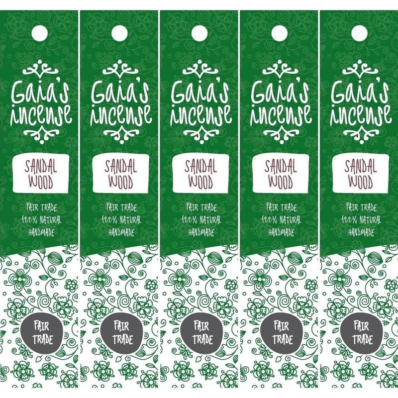 5x Pakje Gaias Incense luxe wierook stokjes sandelhout geur