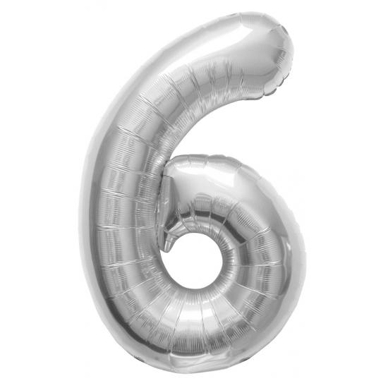 6 jaar folie ballon zilver