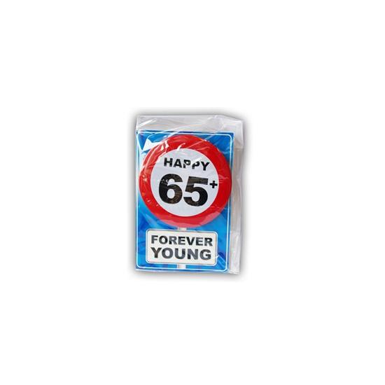 65 jaar ansichtkaart met button