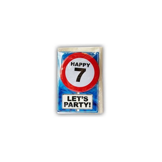 7 jaar ansichtkaart met button