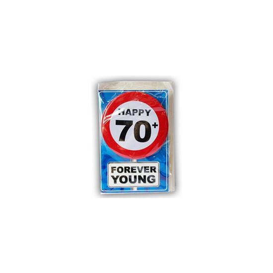70 jaar ansichtkaart met button
