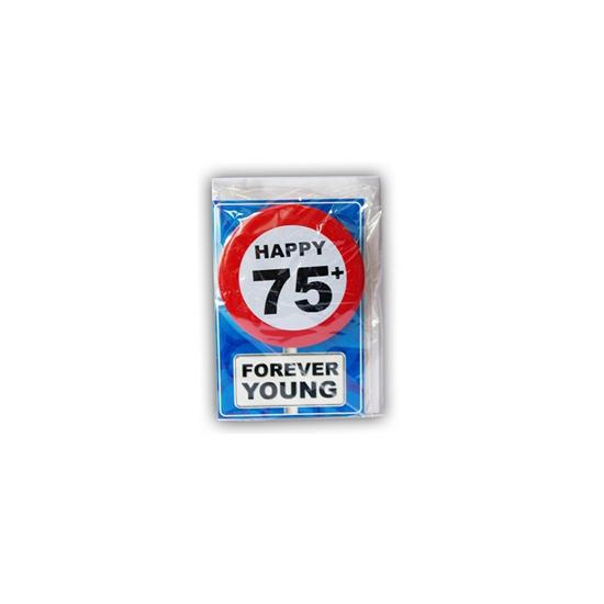 75 jaar ansichtkaart met button