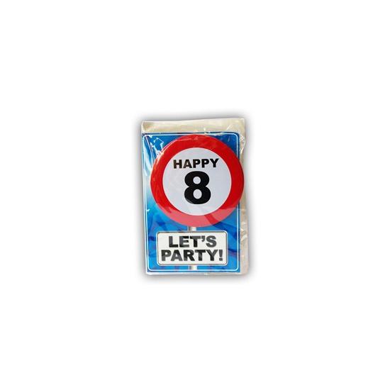 8 jaar ansichtkaart met button